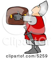 Soldier Carrying A Wooden Treasure Chest Clipart Illustration