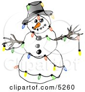 Winter Snowman Decorated With Colorful Christmas Tree Lights Clipart Illustration