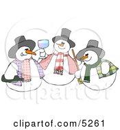 Three Snowmen Partying Clipart Illustration