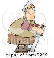 Humorous Roman Soldier Trying To Pull His Stuck Sword From Ground Clipart by djart