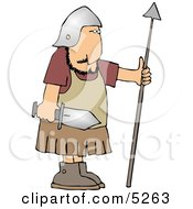 Roman Army Soldier Armed With A Sword And Spear