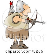 Roman Archer Soldier Shooting An Arrow Clipart