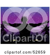 Royalty Free RF Clipart Illustration Of A Silhouetted Dj Playing Music And Entertaining Dancers At A Night Beach Party by elaineitalia