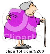 Obese Elderly Woman Walking On A Cane With A Painful Back