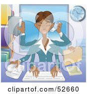 Royalty Free RF Clipart Illustration Of A Busy Multi Tasking African American Assistant Secretary Woman Typing Filing Organizing And Taking Phone Calls by AtStockIllustration #COLLC52660-0021