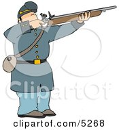 Male Military Union Soldier Aiming Rifle And Preparing To Shoot At Enemy