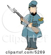 Old Union Soldier Man Armed With A Rifle And Bayonet
