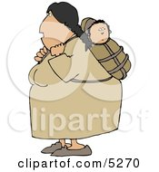 North American Indian Woman Carrying Papoose Clipart Illustration