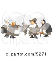 Pilgrim Hunter Man Bringing Home A Dead Turkey Clipart Illustration