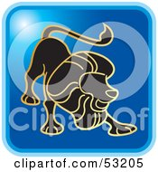 Royalty Free RF Clipart Illustration Of A Blue Square Leo Astrology Icon by Lal Perera