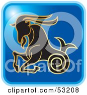 Royalty Free RF Clipart Illustration Of A Blue Square Capricorn Astrology Icon by Lal Perera