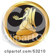Royalty Free RF Clipart Illustration Of A Round Gold And Black Virgo Astrology Icon by Lal Perera