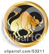 Royalty Free RF Clipart Illustration Of A Round Gold And Black Taurus Astrology Icon