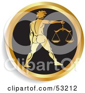 Royalty Free RF Clipart Illustration Of A Round Gold And Black Libra Astrology Icon