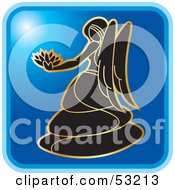 Royalty Free RF Clipart Illustration Of A Blue Square Virgo Astrology Icon by Lal Perera