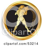 Royalty Free RF Clipart Illustration Of A Round Gold And Black Aquarius Astrology Icon