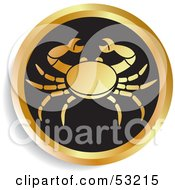 Royalty Free RF Clipart Illustration Of A Round Gold And Black Cancer Astrology Icon
