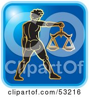 Royalty Free RF Clipart Illustration Of A Blue Square Libra Astrology Icon by Lal Perera