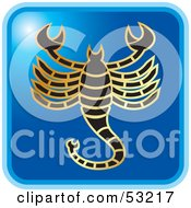 Royalty Free RF Clipart Illustration Of A Blue Square Scorpio Astrology Icon by Lal Perera