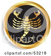 Royalty Free RF Clipart Illustration Of A Round Gold And Black Scorpio Astrology Icon by Lal Perera