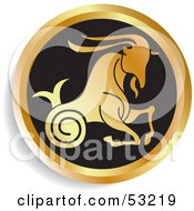 Royalty Free RF Clipart Illustration Of A Round Gold And Black Capricorn Astrology Icon by Lal Perera
