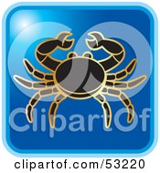 Royalty Free RF Clipart Illustration Of A Blue Square Cancer Astrology Icon by Lal Perera