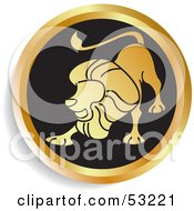 Royalty Free RF Clipart Illustration Of A Round Gold And Black Leo Astrology Icon by Lal Perera