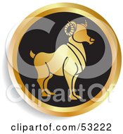 Royalty Free RF Clipart Illustration Of A Round Gold And Black Aries Astrology Icon