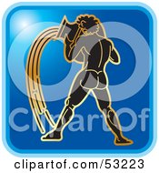 Royalty Free RF Clipart Illustration Of A Blue Square Aquarius Astrology Icon by Lal Perera