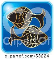 Royalty Free RF Clipart Illustration Of A Blue Square Pisces Astrology Icon by Lal Perera