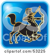 Royalty Free RF Clipart Illustration Of A Blue Square Sagittarius Astrology Icon by Lal Perera