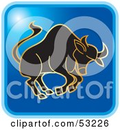 Royalty Free RF Clipart Illustration Of A Blue Square Taurus Astrology Icon by Lal Perera
