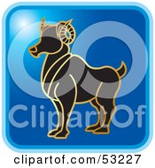 Royalty Free RF Clipart Illustration Of A Blue Square Aries Astrology Icon