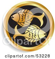 Royalty Free RF Clipart Illustration Of A Round Gold And Black Pisces Astrology Icon by Lal Perera