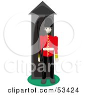 Royalty Free RF Clipart Illustration Of A Tough British Guard Standing At His Post With A Rifle