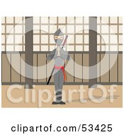 Royalty Free RF Clipart Illustration Of A Calm Ninja Standing Tall With His Hands Pressed Together by mheld