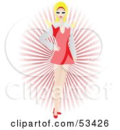 Royalty Free RF Clipart Illustration Of A Stylish Blond Woman In A Short Dress Standing In Front Of A Red Burst by mheld