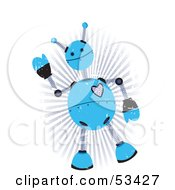 Royalty Free RF Clipart Illustration Of A Friendly Blue Springy Robot With Grunge Marks