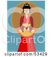 Royalty Free RF Clipart Illustration Of A Peaceful Geisha Woman In A Red Kimono by mheld