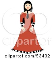 Royalty Free RF Clipart Illustration Of A Gothic Girl With Black Hair Wearing An Orange Dress And Black Neck Tie