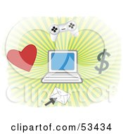 Bursting Background With A Heart Envelope Dollar Video Controller And Laptop