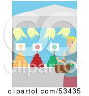 Royalty Free RF Clipart Illustration Of A Blond Lady Shopping At A Fresh Fruit Market by mheld