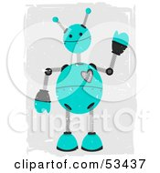 Royalty Free RF Clipart Illustration Of A Friendly Teal Springy Robot With Grunge Marks