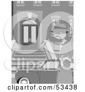 Royalty-Free (RF) Clipart Illustration of a Gangster Man Standing By A Vehicle In Front Of A Building by mheld