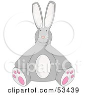 Royalty Free RF Clipart Illustration Of A Stuffed Gray Bunny Rabbit Sitting Upright