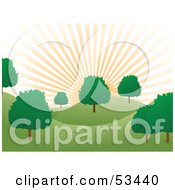 Royalty Free RF Clipart Illustration Of A Peach Colored Sun Rising Over Rolling Hills And Green Trees