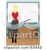 Royalty Free RF Clipart Illustration Of A Pretty Blond Businesswoman Or Teacher Instructing In Front Of A White Board