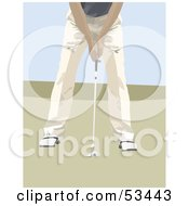 Royalty Free RF Clipart Illustration Of A Golfer Bending Over To Hit A Ball