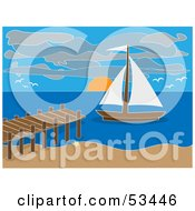 Royalty Free RF Clipart Illustration Of A Sailboat Nearing A Dock At A Beach