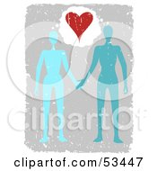 Royalty Free RF Clipart Illustration Of A Blue And Teal Couple Holding Hands Under A Heart With Grunge by mheld